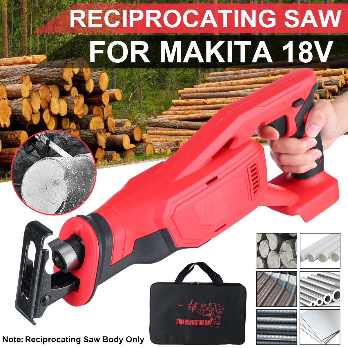 Electric Cordless Reciprocating Saw 18V 32mm Metal Cutting Tool Woodworking Cutter Crank Electric Saw for Makita 18V Battery
