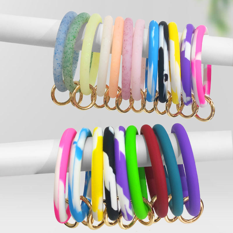 JUST FEEL Fashion Soft Silicone key Chain For Women Girls Circle Wristlet Keychain 2019 Multiful Keyring Accessories Wholesale