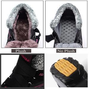 Image 3 - Frauen Winter Schuhe Keil Wildleder Stiefel Nicht Slip Damen Schuhe Warme Plüsch Knöchel Schnee Stiefel Wasserdicht Wandern Stiefel WJ016