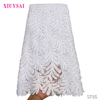 Leaf Pattern High Quality Nigerian Wedding African Lace Fabrics Most Popular Guipure Cord Lace Fabric For Party Dresses S735