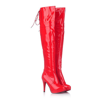 цена Leather Single Boots Overknee Boots Waterproof Platform High With Knight Boots Sexy Dance Boots Wedding Shoes онлайн в 2017 году