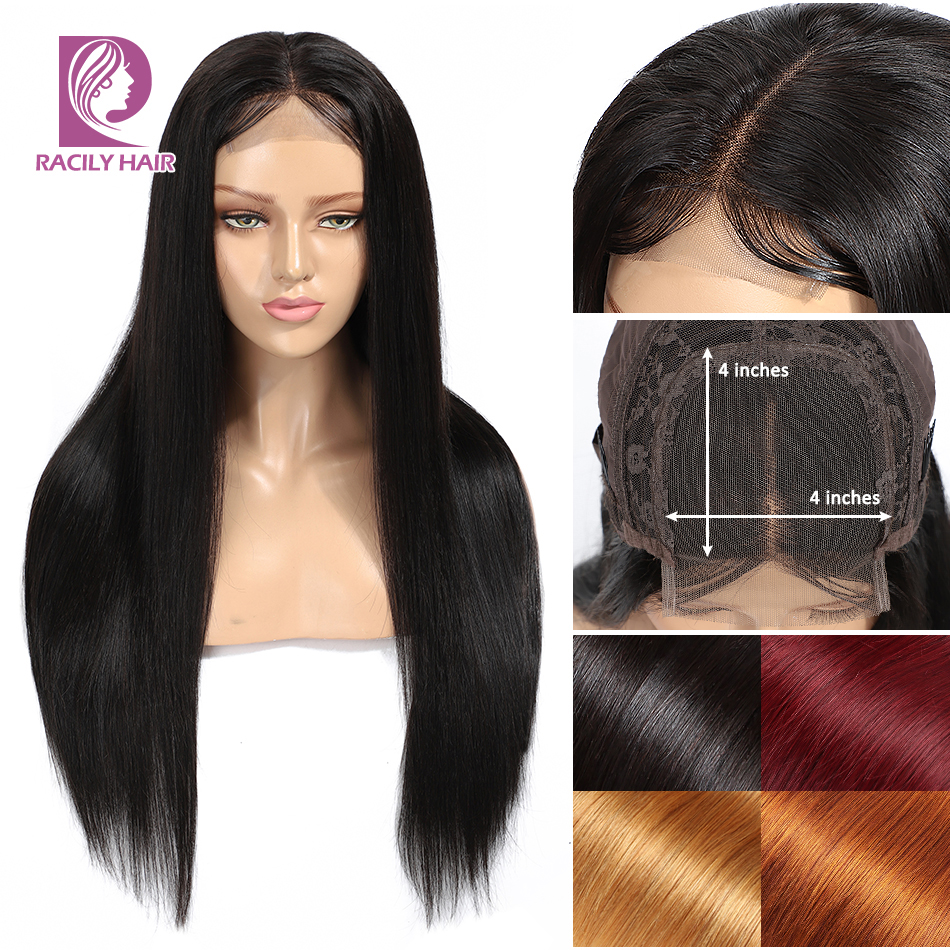 Racily Hair 4x4 Ombre Blonde Lace Closure Human Hair Wigs Glueless Peruvian Straight Wig Red Remy Human Hair Lace Closure Wigs