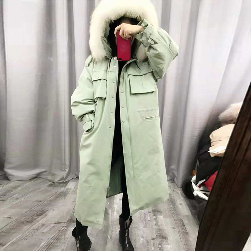 2019 Real Natural Fur Collar -30 Degree Winter Women Jacket Coat Hooded Thick Warm Winter Long Down Parka White Duck Down Jacket