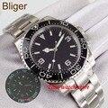 Bliger 40 мм Miyota 8215 автоматические часы мужские сапфировое стекло водонепроницаемый светящийся черный циферблат светящийся керамический обод...