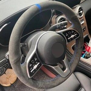 Image 3 - El dikişli siyah hakiki deri süet araba direksiyon kapakları Mercedes Benz için bir sınıf 19 20 GLC GLB 2020 CLS 18 20
