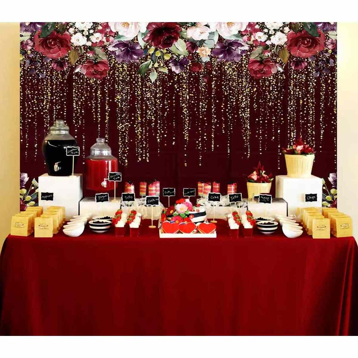 Burgundy Red Flower Photography Backdrop Birthday Banner Party