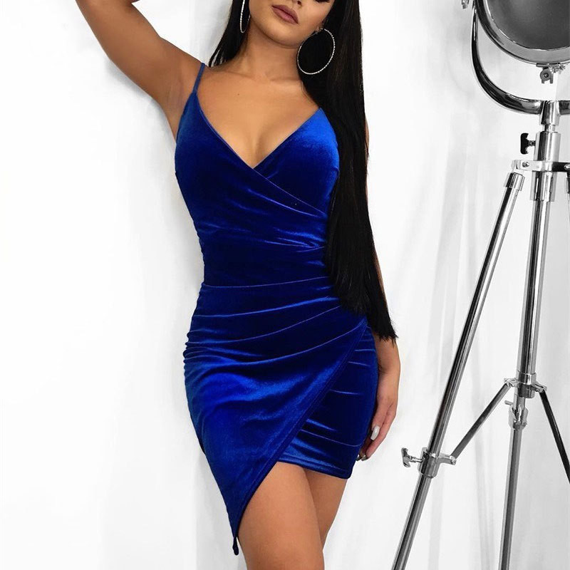 Echoine Party Dress Women Sexy Velvet Bodycon Backless V-Neck Midi Sheath Irregularity Hemline Royal Blue Ladies Dresses Elegant