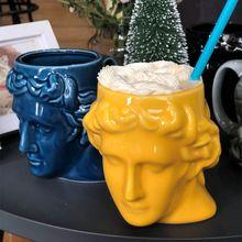 Grande capacité tasse en céramique espagne antique grèce Apollo David tête tasse Sculpture tasse à café décorations de bureau bureau porte-stylo