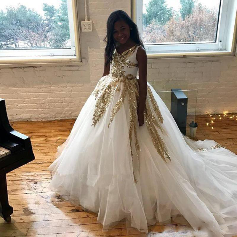 White Gold Lace Flower Girl Dresses Party Dresses Birthday Dress Pageant Girl Dress Golden Lace