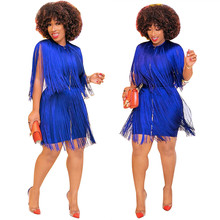 Women Sexy Sleeveless Tassel Dress Fashion Solid Color Mini Bodycon Dress 2019 Summer O-Neck Blue Party Dresses Plus Size S-3XL sexy plunging neck solid color sleeveless mini dress for women
