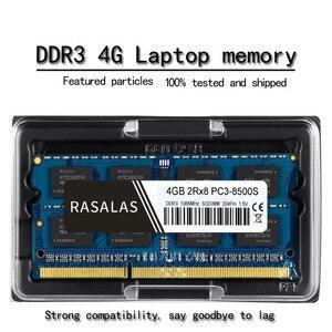 Rasalas Новый 4 GB 2Rx8 PC3-8500S DDR3 1066Mhz SO-DIMM 4 GB 1,5V ноутбук RAM 204Pin Ноутбук полностью совместимая память Sodimm синий