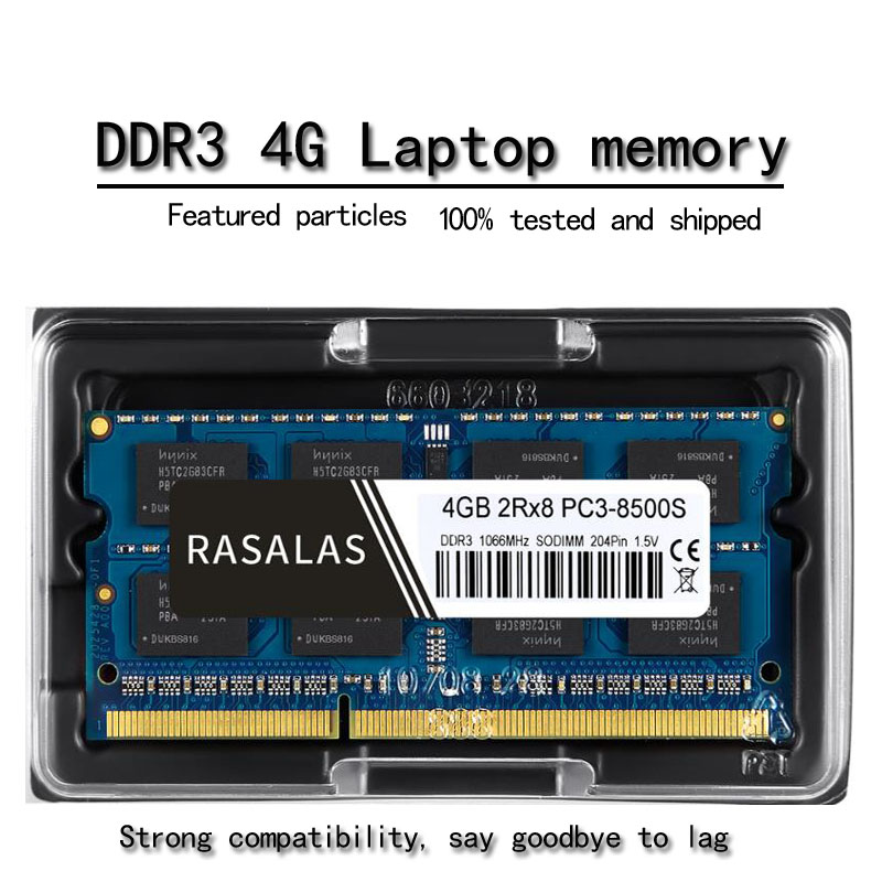 Rasalas 4GB 2Rx8 PC3-8500S <font><b>DDR3</b></font> 1066Mhz SO-DIMM 4 GB 1,5V Notebook RAM 204Pin Laptop Fully compatible Memory sodimm NO-ECC Blue image