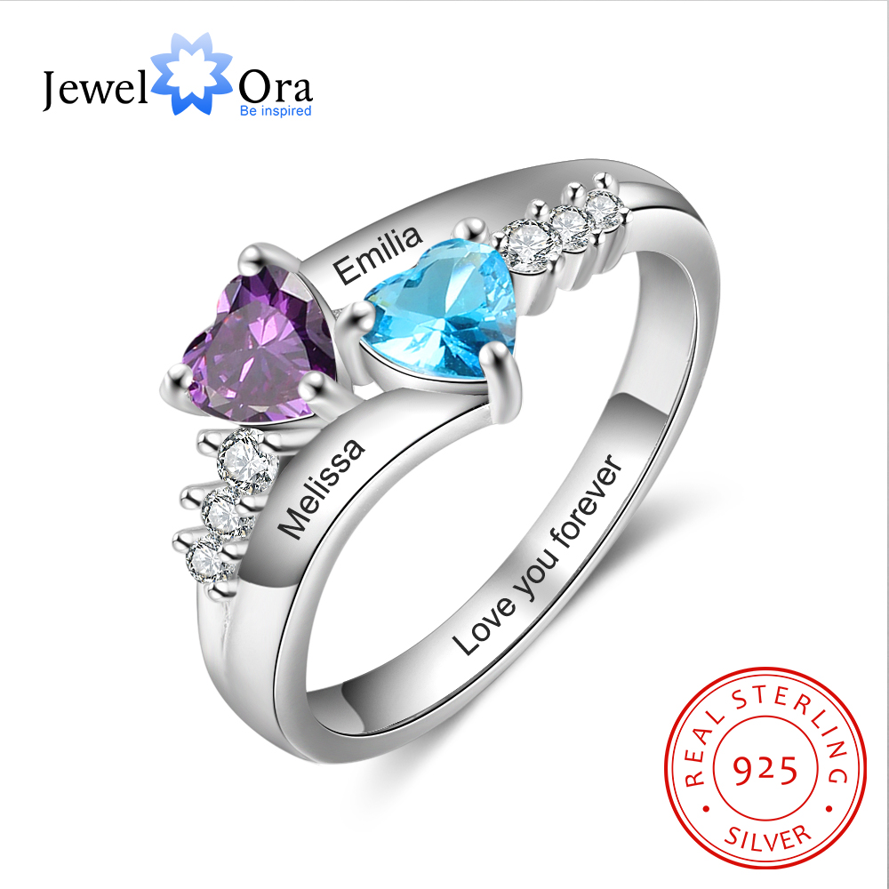 JewelOra 925 Sterling Silver Personalized Mothers Rings With 2 Heart Birthstones Custom Name Promise Ring Wedding Fine Jewelry