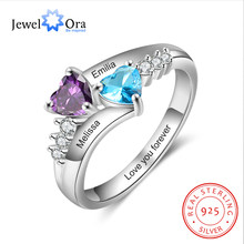 JewelOra 925 Sterling Silver Personalized Mothers Rings with 2 Heart Birthstones Custom Name Promise Ring Wedding Fine Jewelry(China)