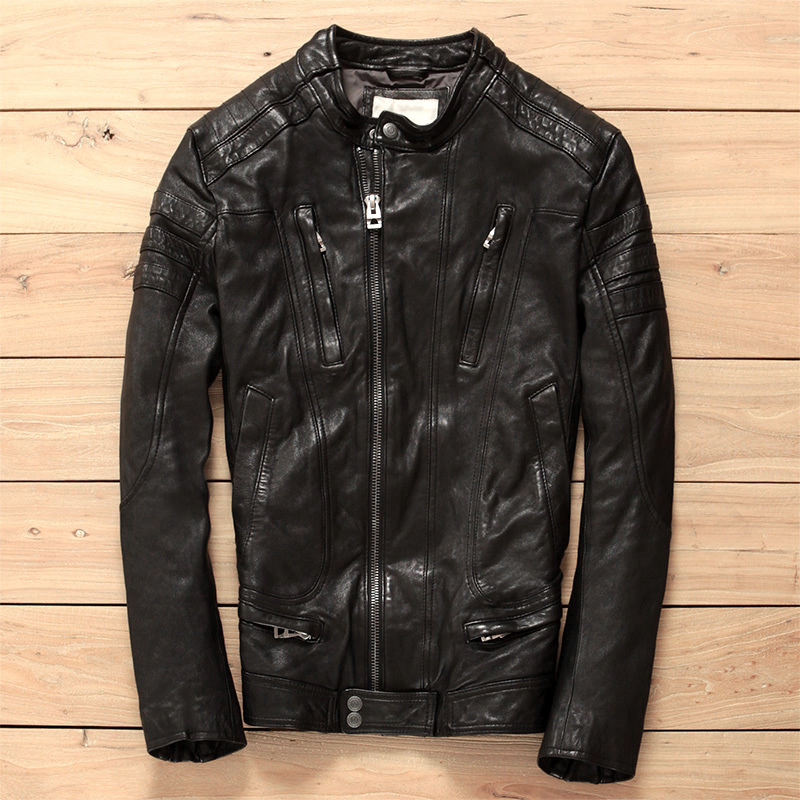 Korean Fahsion Slim Fit Genuine Stand Collar Diagonal Zipper Brand Motorcycle Jacket For Men Leather Clothing