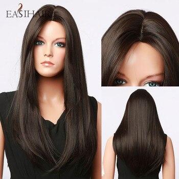 EASIHAIR uzun koyu kahverengi doğal saç sentetik peruk kadınlar için saç çizgisi kısmı dantel peruk günlük Cosplay isıya dayanıklı peruk