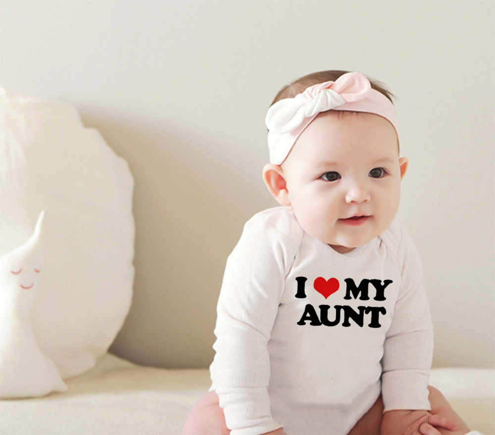 Newborn Funny Cotton   Romper   I Love My Aunt Print Infant Baby Boys Girls Long Sleeve Jumpsuit Toddler Fashion Soft Playsuit