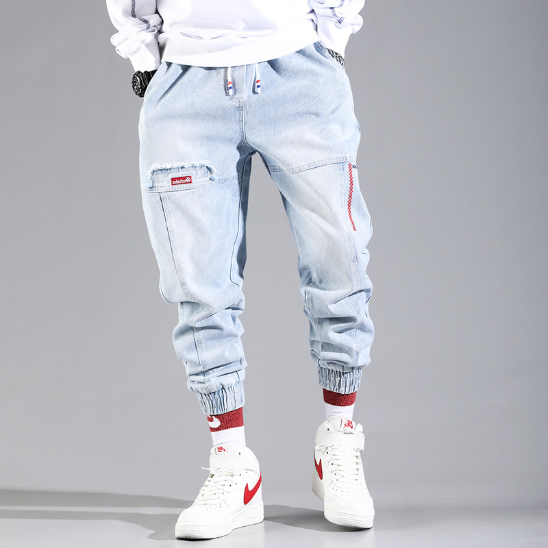Hip Hop Streetwear Harem Jeans Pants Men Loose Joggers Denim Casual Sweatpants Korea Ankle Length Trousers