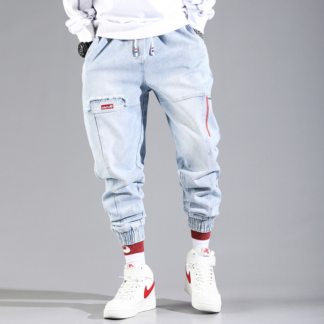 Hip Hop Streetwear Harem Jeans Pants Men Loose Joggers Denim Casual Sweatpants Korea Ankle length Trousers 1
