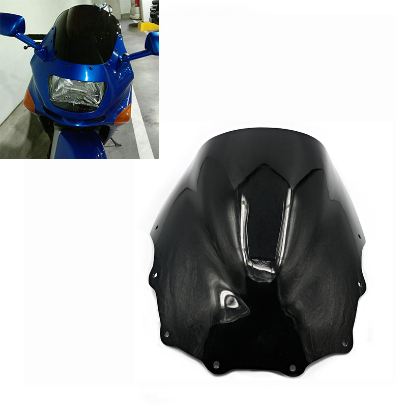 Black Motocycle New Double Bubble Windscreen Windshield Wind Screen ABS For Kawasaki Ninja ZX7R ZX 7R 1996-2003 1997 1998 1999 2000 2001 2002 Motorcycle Parts Windshield