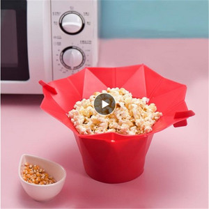 Corn Maker Bowl Easy Tools Microwave Popcorn Bowl Bucket Silicone Green Kitchen Bakingwares Bucket Safe Red Home Foldable Dining(China)