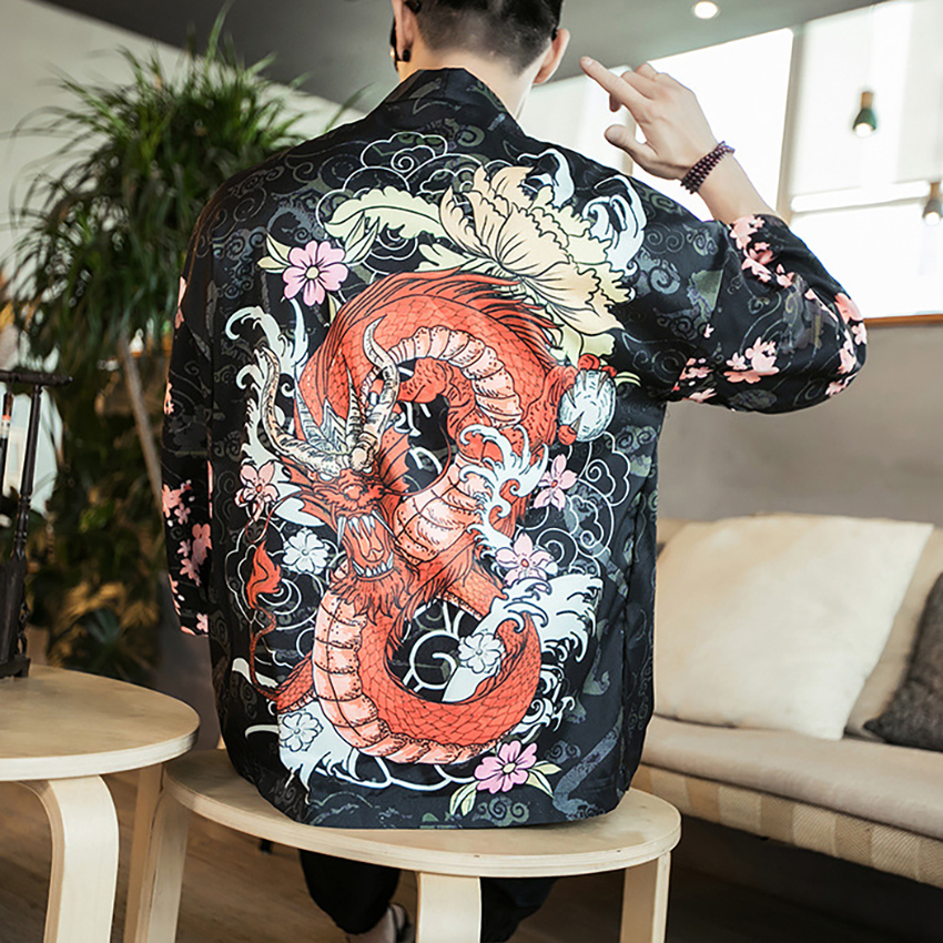 Dragon Floral Print Chinese Shirt Crane Top Traditional Chinese Clothes For Men Asian Cardigan Retro Party Costume Plus Tangsuit