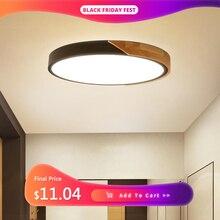Lámpara de techo LED ultradelgada moderna, accesorio de iluminación de madera, montaje en superficie, decoración para el hogar, Control remoto para balcón