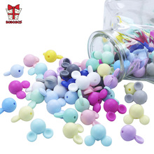 BOBO.BOX 100pcs/lot Mickey Silicone Beads Baby Teether Toy Soft Chew Teething BPA Free DIY Charm Necklace Food Grade Jewelry Gif