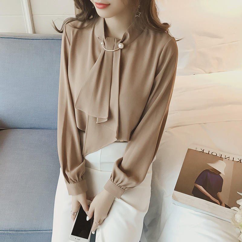 2020 summer long sleeve women's shirt blouse for women blusas womens tops and blouses chiffon shirts ladie's top plus size 8