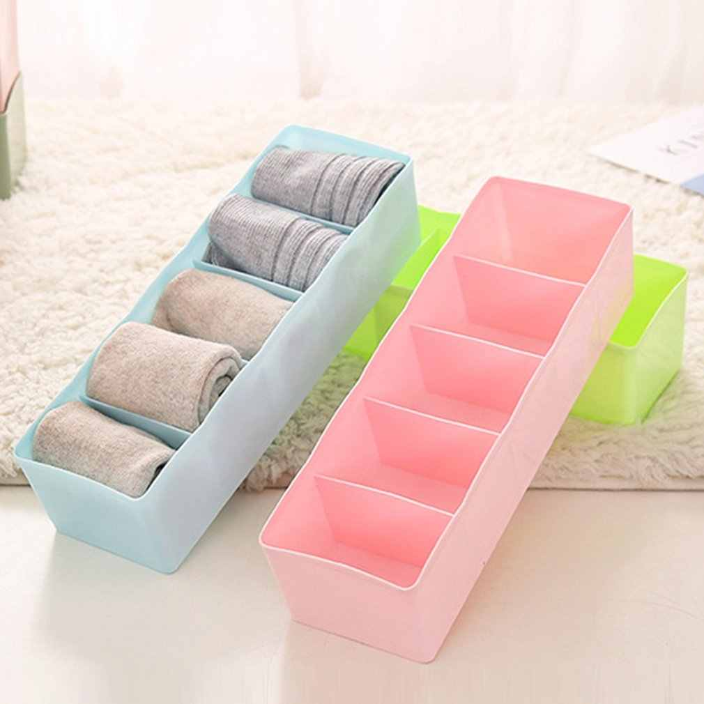 Plastic Desktop Organizer Socks Storage Case Bra Ties Sorting Box Portable Underwear Organizer Home Accessories
