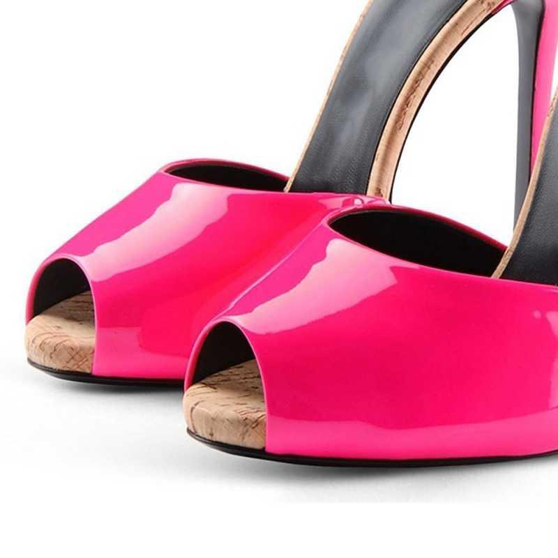 Stiletto ส้นสูงเซ็กซี่แฟชั่น Peep Toe รองเท้าแตะผู้หญิงหรูหราหนังแท้ Sheepskin PARTY รองเท้าแตะฤดูร้อนสีแดงสีดำ