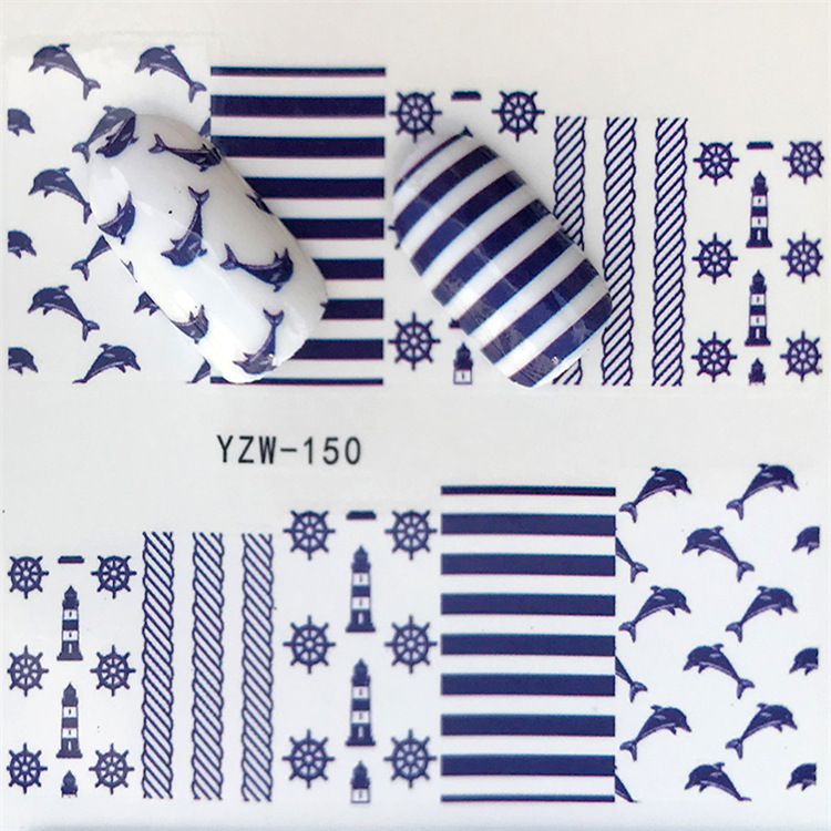 Cross Border For Nail Sticker YZW150 Dolphin Navy Style Nail Sticker Environmentally Friendly Breathable Nail Sticker Currently