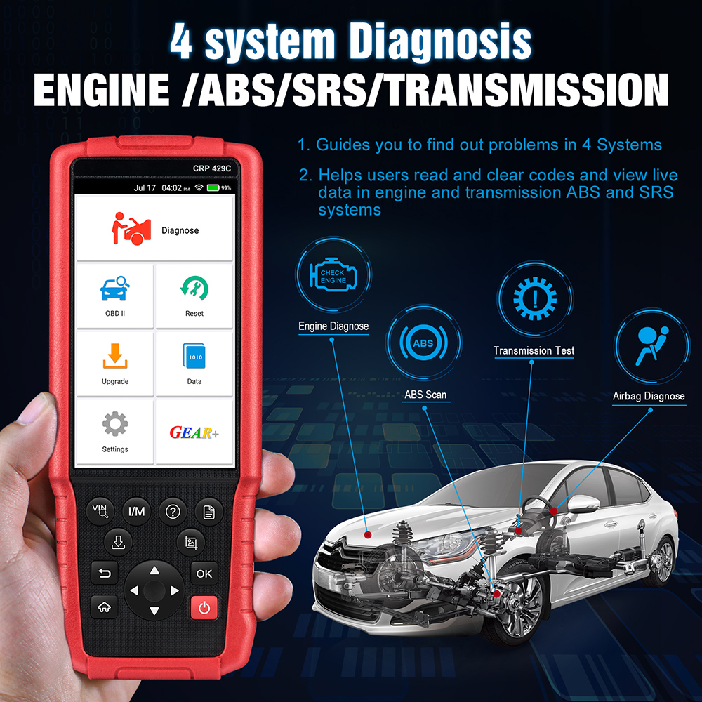 Image 2 - LAUNCH X431 CRP429C OBD2 ENG ABS Airbag SRS AT diagnostic tool obdII Code reader DPF BMS EPB11 reset function pk CRP129 CR9081 on
