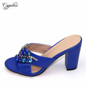 Latest Royal Blue Party Lady High Heel Pumps Shoes With Stones 239-1 Heel Height 10CM 5Color
