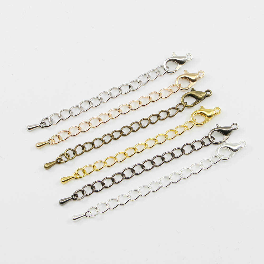 20pcs/ lot 50/70mm Gold /Rhodium/Silver Tail Chain Extended Extension Chains Lobster Clasps Connector For Jewelry Making Finding