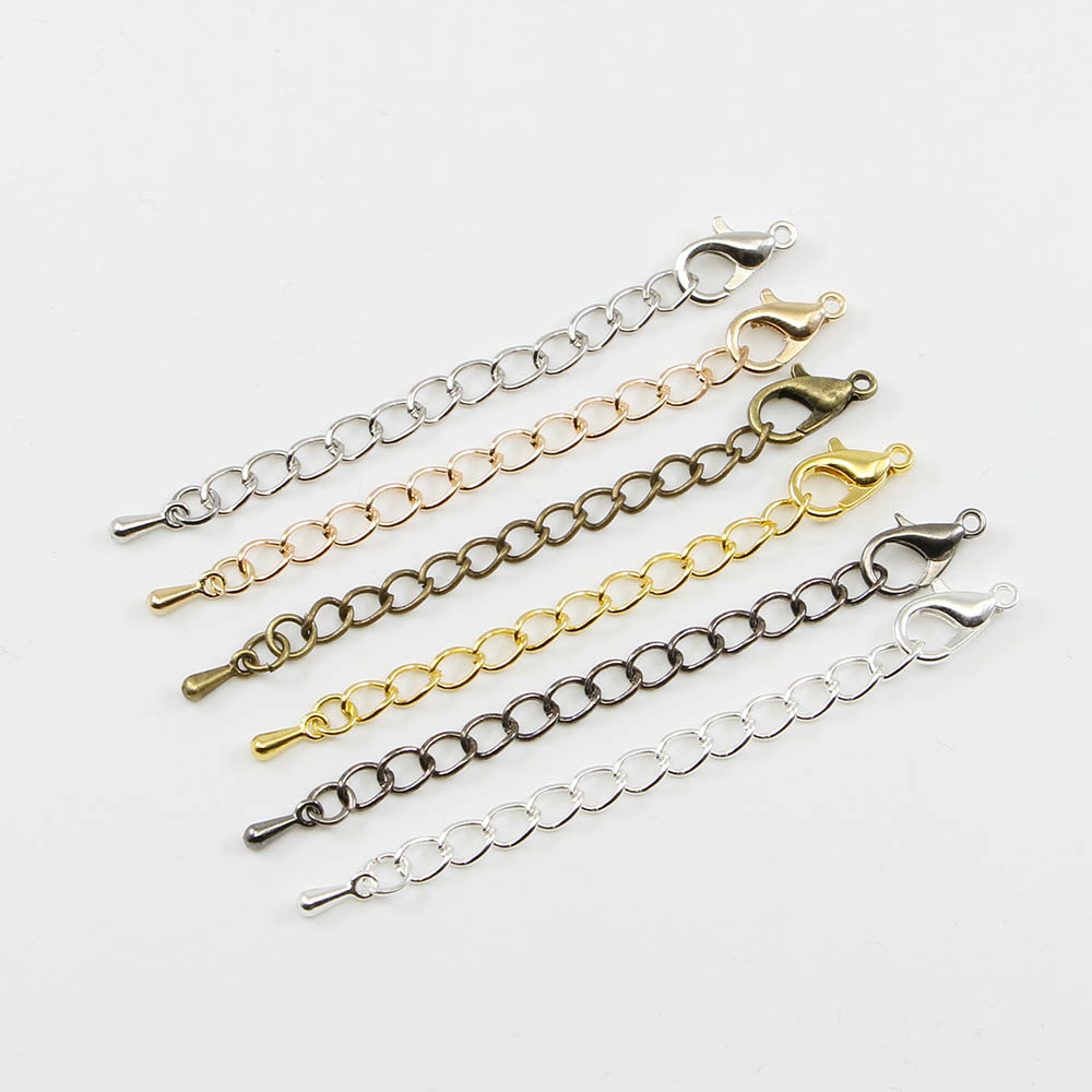 20pcs Extended Extension Tail Chain Lobster Clasps Connector Jewelry Findings