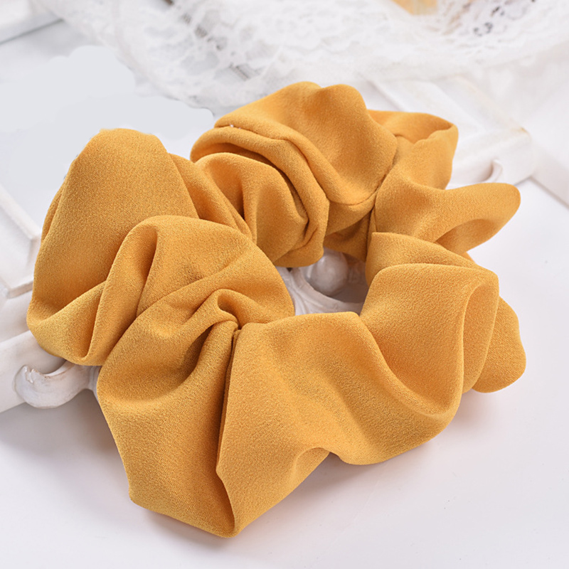Korean Jewelry Hair Accessories Candy-colored Solid Fabric Chiffon Headband Flower Headdress Hair Rope Scrunchie