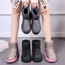 Snow Boots Winter Flat Shoes Sequined Cloth Women Ankle Boot
