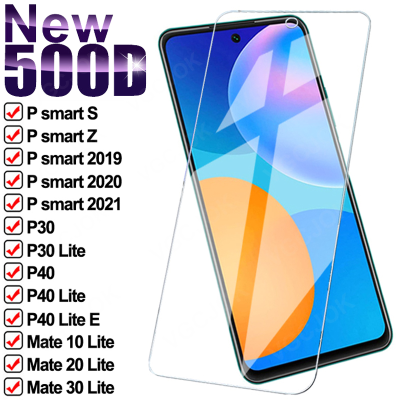 Защитное стекло 500D для Huawei P smart 2020 2021 P30 P40 Lite E Psmart S Z, протектор экрана Mate 10 20 30 Lite, закаленное стекло|Защитные стёкла и плёнки|   | АлиЭкспресс