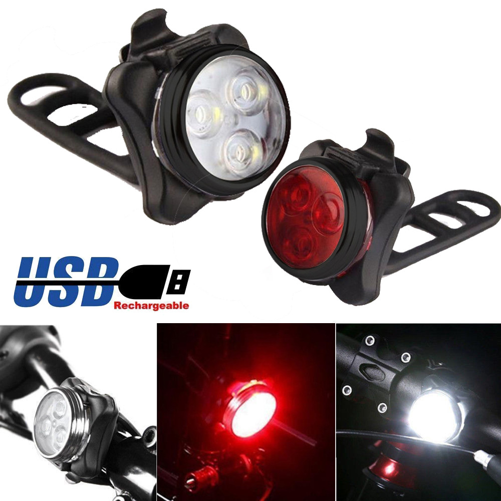 Bicycle Front Rear Tail Bike Lights USB Rechargeable 4 Mode 3 LED Headlight Lamp