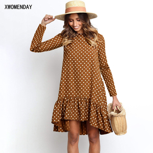 Chiffon Dress Autumn Winter Casual Loose Blue Long Sleeve Polka Dot Ruffle Dresses For Women Fashion 2020 Fall Clothes For Women