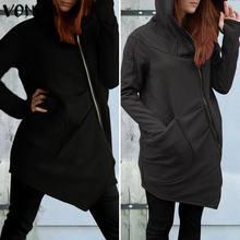 VONDA Women Hoodies Sweatshirts 2019 Autumn Winter Female Blouse Casual Long Sleeve Dress Zipper Outwear S-5XL