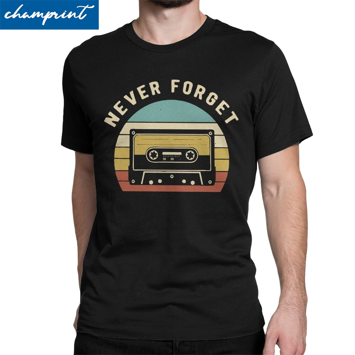 Vintage Cassette Tape Never Forget Funny Retro Music Lover Gift T-Shirt for Men Nerd Oldshcool Gaming Vintage 100% Cotton Tees