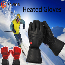 Redder Elektrische Lederen Verwarmde Handschoenen Waterdicht Winter Warm Ski Verwarming Handschoenen Screen Outdoor Sport Winter Motorhandschoenen