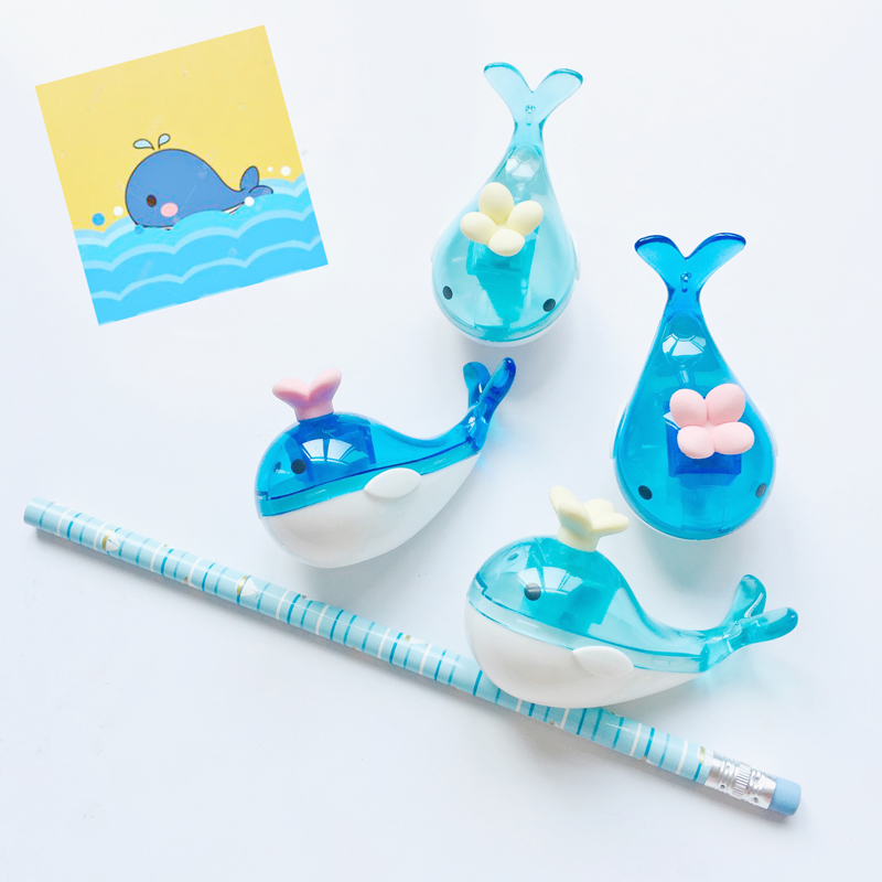 1X Cute Blue Whale Pencil Sharpener With Eraser Student Stationery