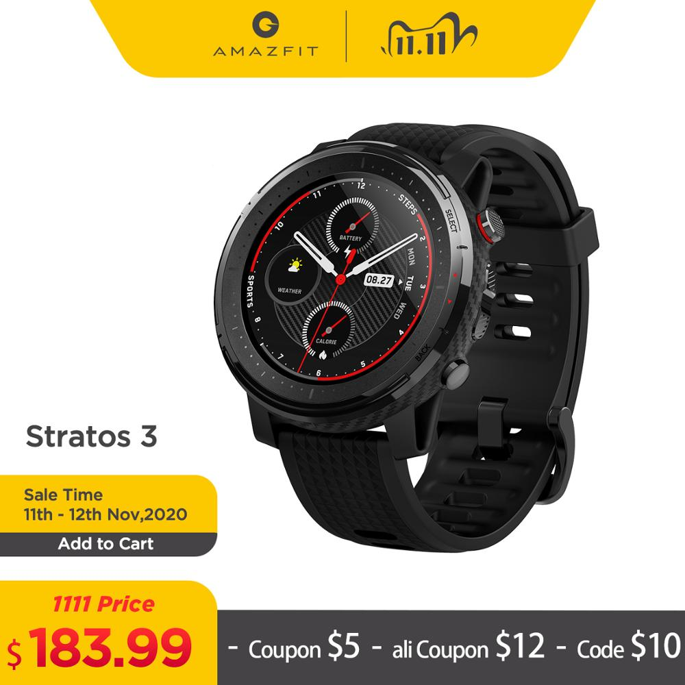 New Amazfit Stratos 3 GPS smartwatch 5ATM Bluetooth Music Heart Rate Dual Mode 14 Days Battery For Android 2019