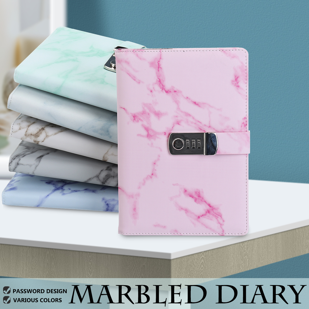 A5 Notebook Paper Vintage Leather Marbling Diary Journal With Combination Password Lock Code Notebook School Office Stationery