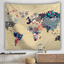 Hippie Boho Map Tapestry Wall Hanging Psychedelic Tapestry World Map Abstract Retro Farmhouse Decor Wall Carpet Blanket Mattress