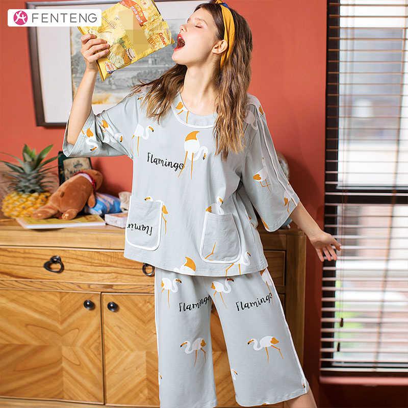 FENTENG 봄 여름 잠옷 세트 인과 면화 인쇄 잠옷 여성용 Oneck 하프 슬리브 느슨한 여성 수면 탑 X98011942