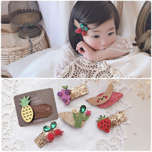 2020 kakakids new girls hair children's hair accessories shiny gold pink cloth fruit children's hair clip headgear(China)